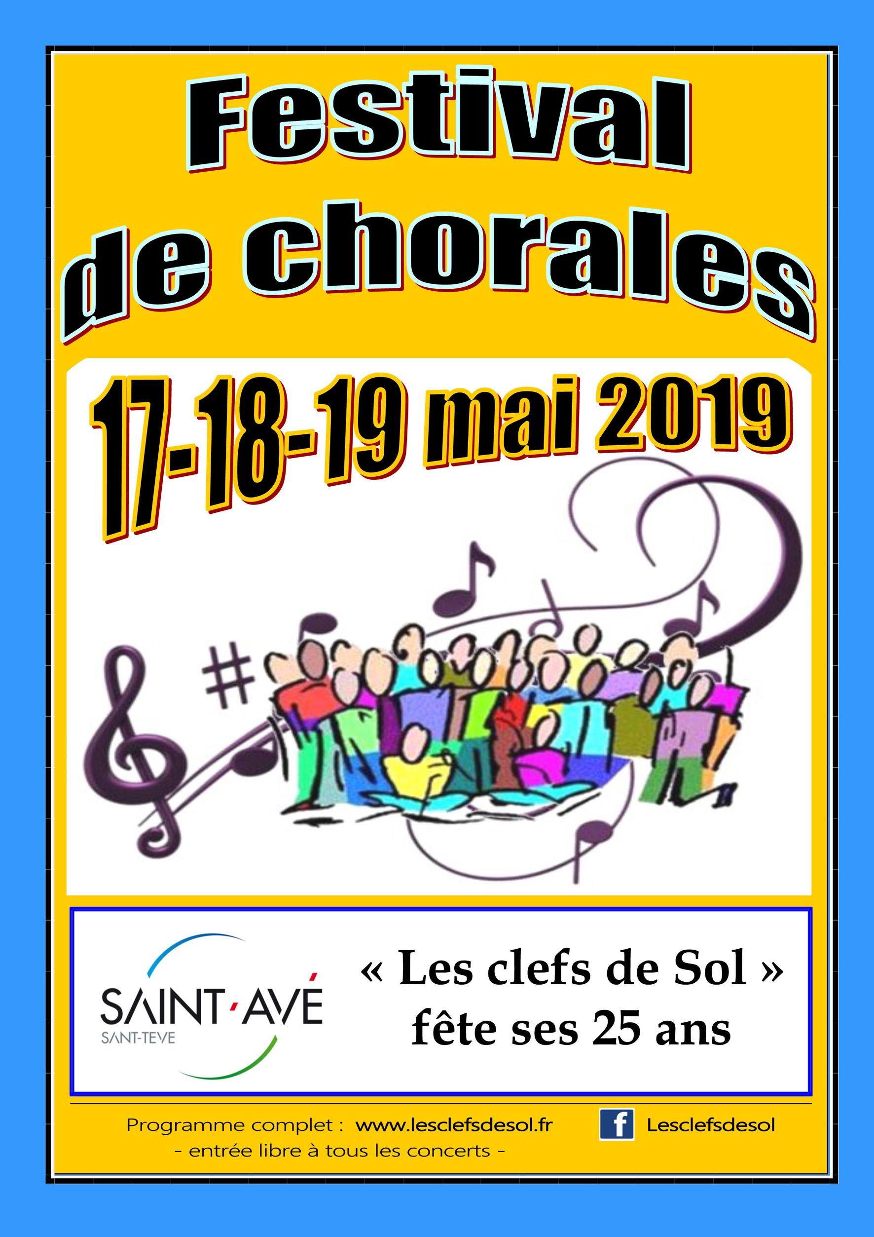 """Un festival de chorales pour fêter les 25 ans des """"Clefs de Sol"""" les 17, 18 et 19 mai 2019"""